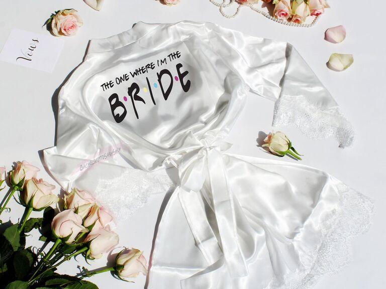 White lace bridal robe