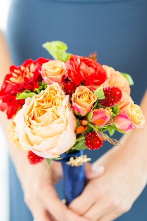 Sunset-Inspired Orange and Red Rose and Peony Bridesmaid Bouquet