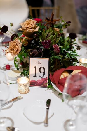 Modern Centerpiece with Leaves, Candles and Table Number
