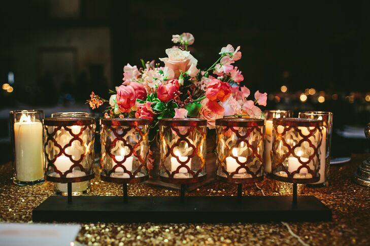 Gold Candle Votives with Pink Centerpieces