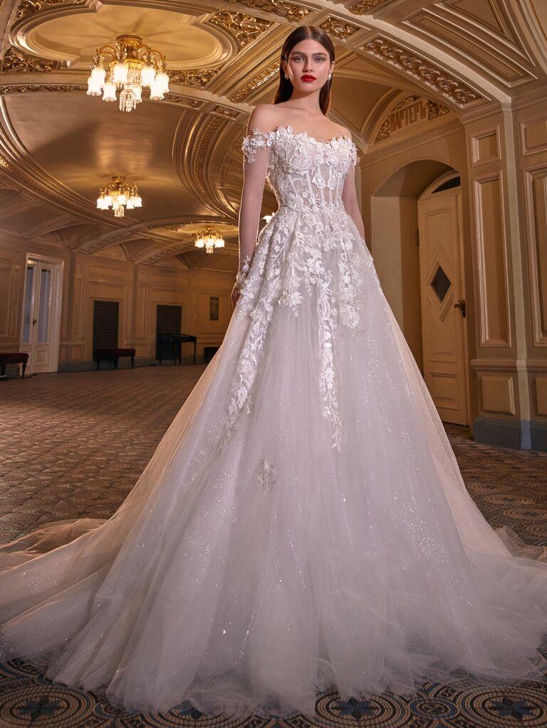 Galia Lahav Spring 2020 Bridal Collection off-the-shoulder floral appliqué wedding dress