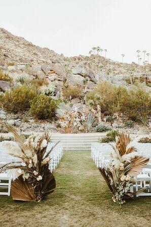 Bohemian Wedding Ceremony Setup for Palm Springs Wedding