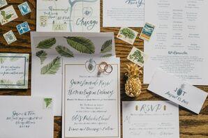 White and Green Invitation Suite