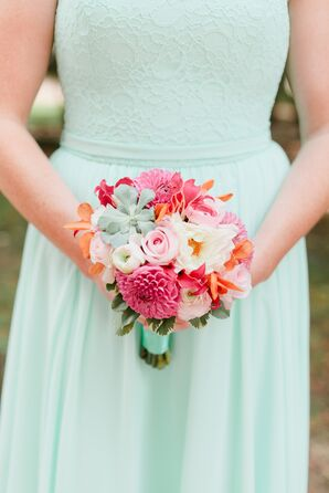 Colorful Dahlia and Succulent Bridesmaid Bouquet