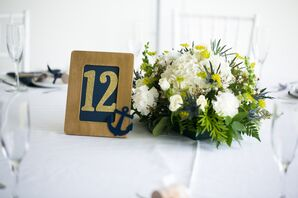 Gold and Navy Table Number With Anchor