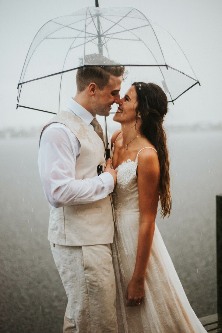 Bohemian Couple on Beach in Rain with Umbrella