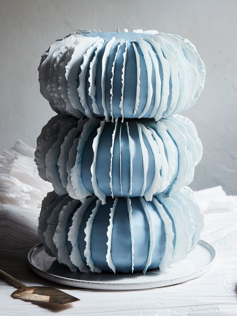 blue sculptural wedding cake