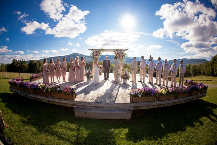 The outdoor ceremony overlooked the gorgeous Green Mountains in Vermont.