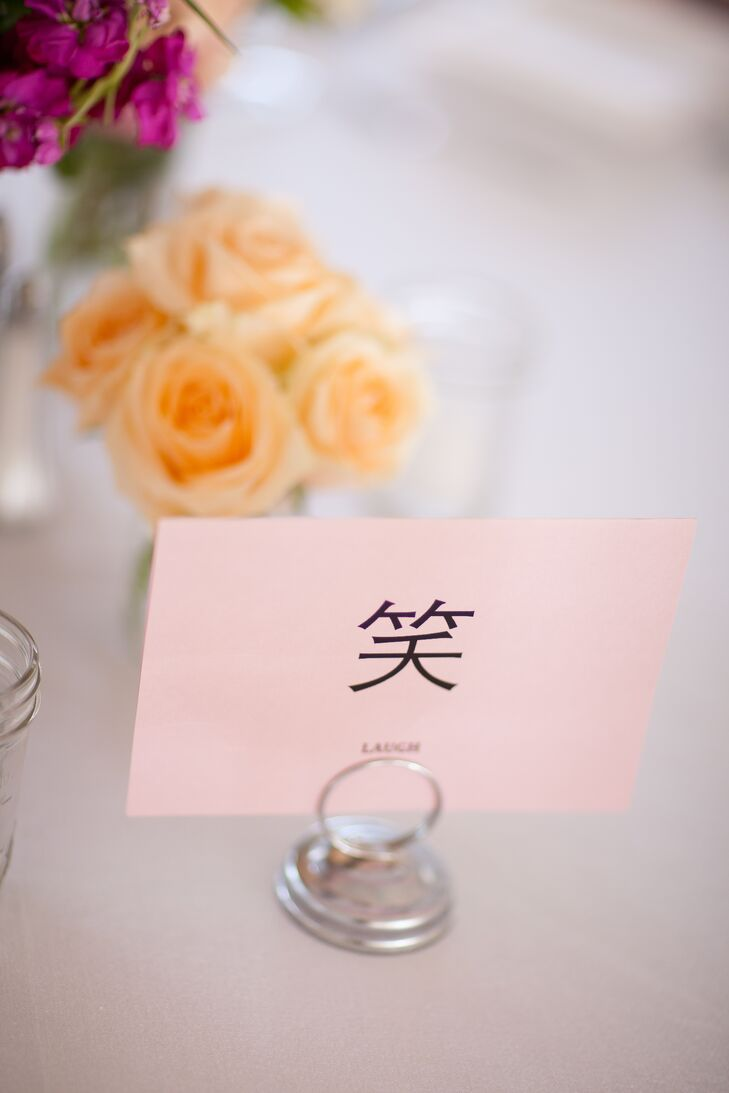 The table names were various Chinese characters expressing harmony, love, friendship, laughter and marriage.