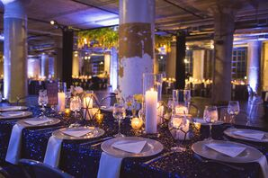 Blue Light Dining Tables with Gold Tea Lights