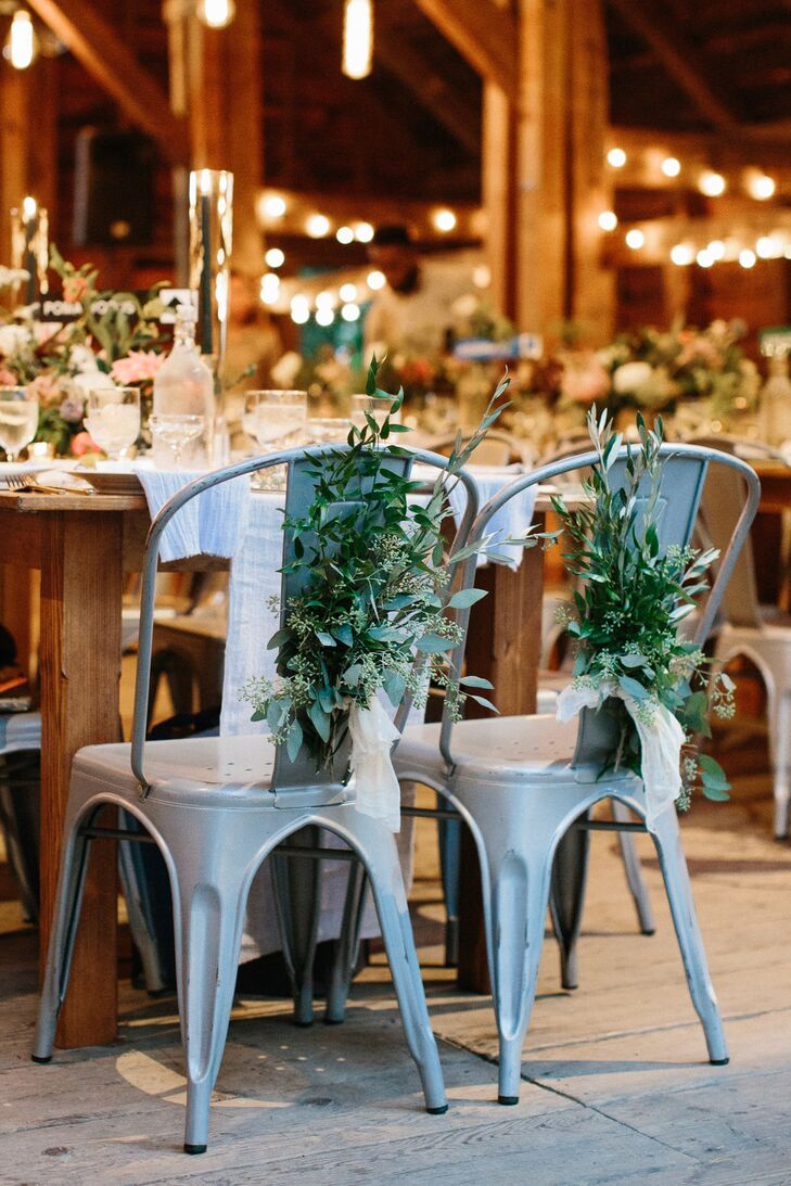 Metal Sweetheart Chairs with Greenery