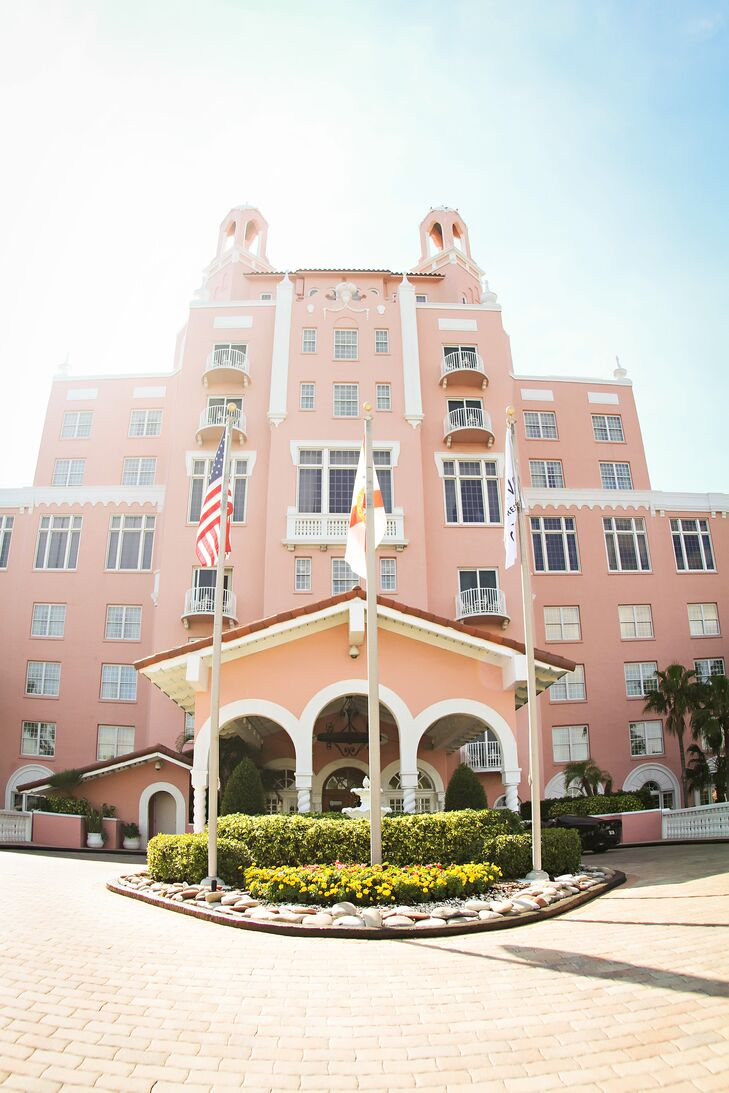 The Loews Don Cesar Hotel's served as the anchor for what would be the couple's navy, gray, white and pink wedding.