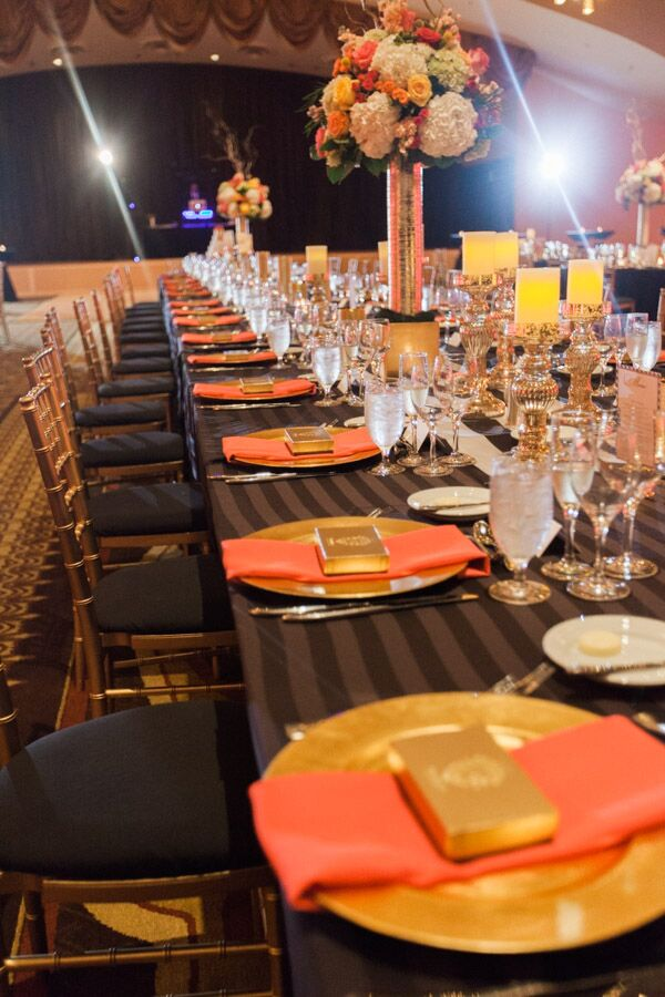 Gold Plates and Striped Tablecloth