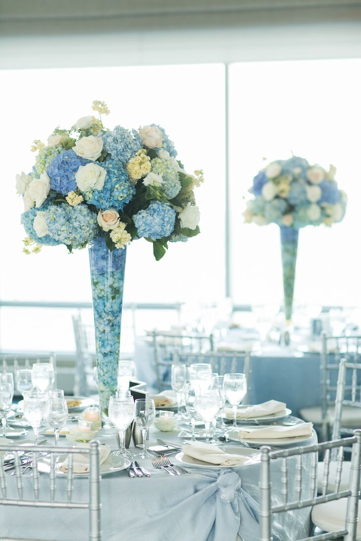 Blue Hydrangea and White Rose Centerpieces