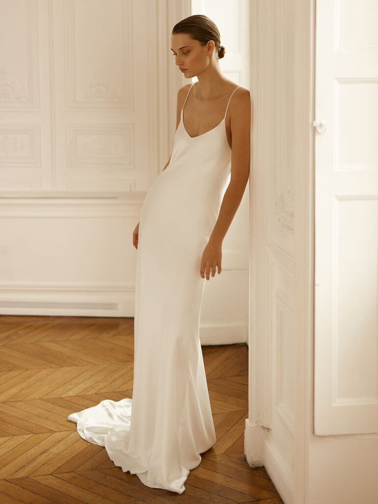 Dana Harel Spring 2020 Bridal Collection slip spaghetti-strap wedding dress