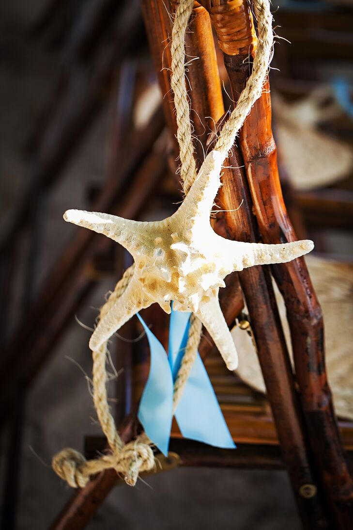 Dried starfish hung off the ceremony chairs.