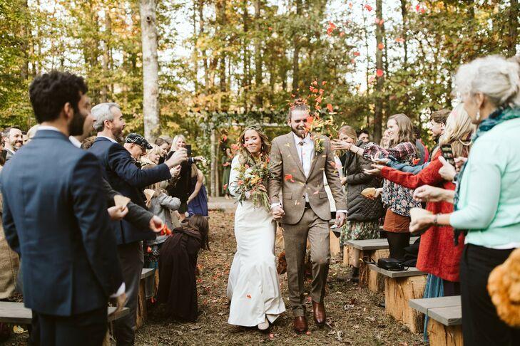 Recessional at Fall Backyard Wedding in Georgia