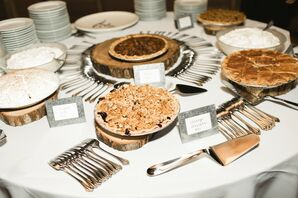 Modern Dessert Tables with Pies and Wooden Platters