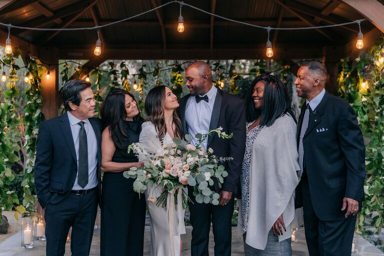 erin lim and husband wedding day families