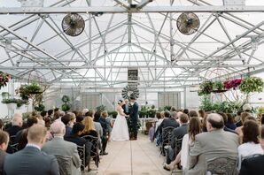 Greenhouse Ceremony Space Decorated with Hanging Plants