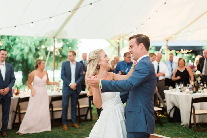 "Before inviting guests to join them on the dance floor, Megan and Noah shared their first dance as newlyweds to Loggins and Messina's ""Danny's Song."" ""At the time, it felt like the song was really speaking to where we were and where we were heading, referencing marriage and starting a family,"" Megan says."