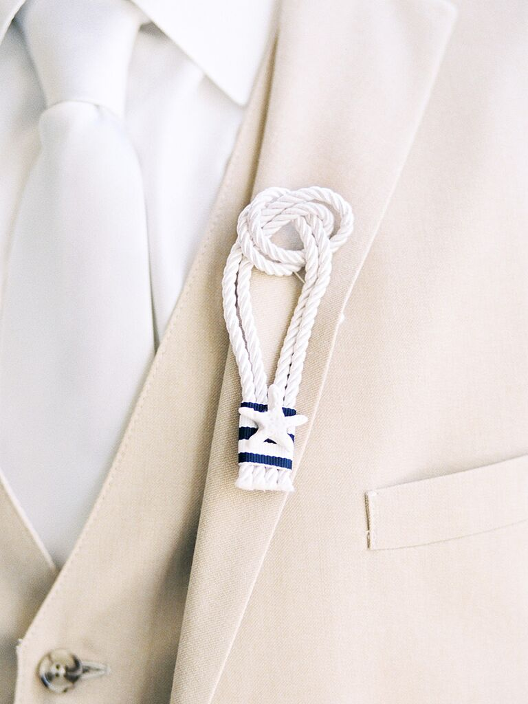 Nautical boutonniere idea using small rope pieces and mini star fish