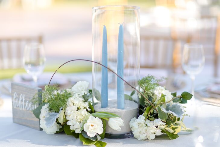 Beachy-Blue Taper Candles and natural Centerpieces
