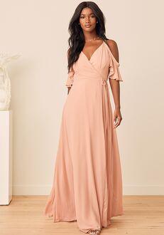 Lulus Easy Listening Blush Cold-Shoulder Wrap Maxi Dress Bridesmaid Dress