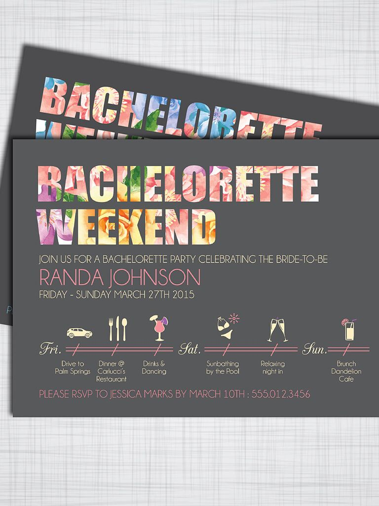Cute Printable Invitation Template For A Bachelorette Weekend