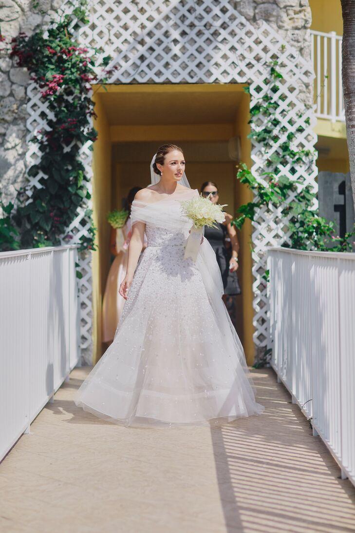 Classic Bride in White Reem Acra Wedding Dress