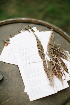 Pheasant Feather-Decorated Ceremony Programs
