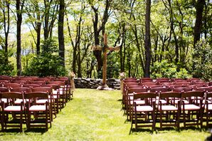 Estate Lawn Ceremony with Handmade Cpress Wooden Cross