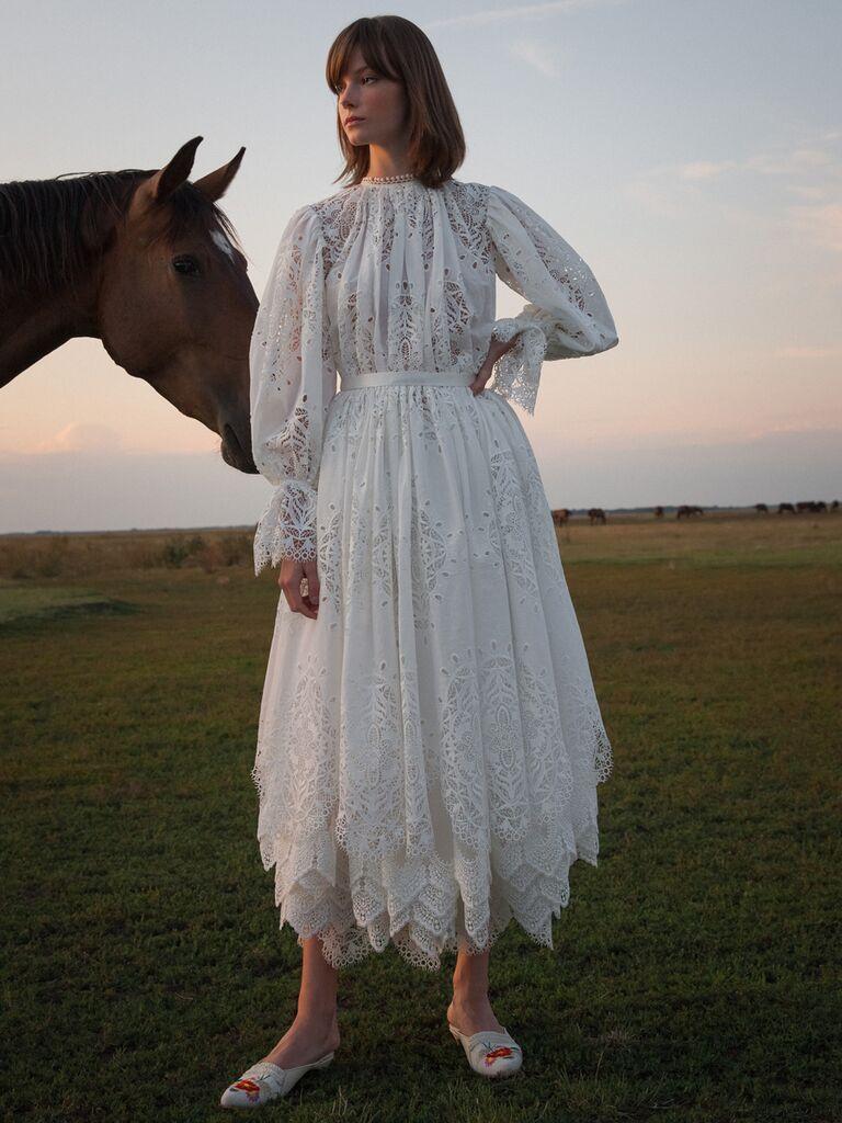 Flowing Lace Tea-Length Wedding Dress