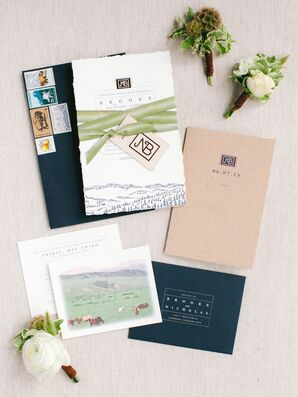 Rustic Brown, White and Navy Wedding Invitations