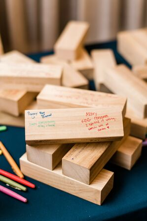 Jenga Game Piece Guest Book at Wedding in Raleigh, North Carolina