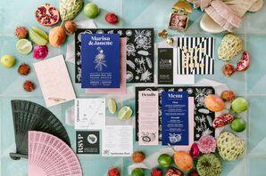 Indigo-and-Black Invitations for Wedding in Tulum, Mexico