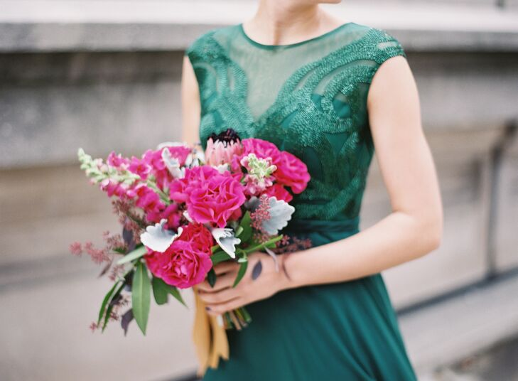 Bright Pink Protea and Rose Bridesmaid Bouquets
