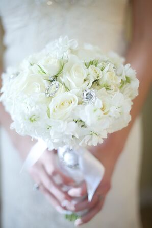 White Bridal Bouquet with Sentimental Silver Broaches