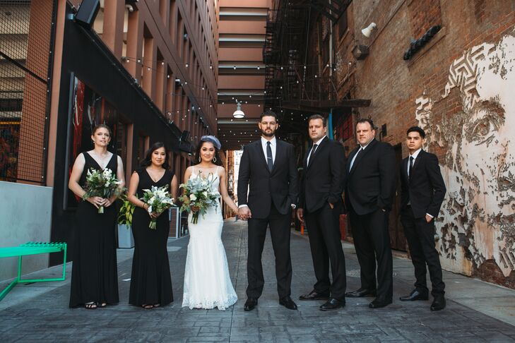 Modern Wedding Party in Black and White Attire