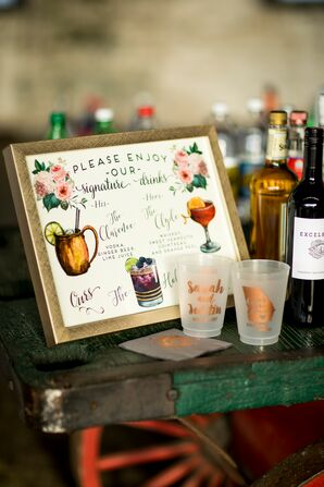 Signature Cocktail Sign with Personalized Shot Glass Guest Favors