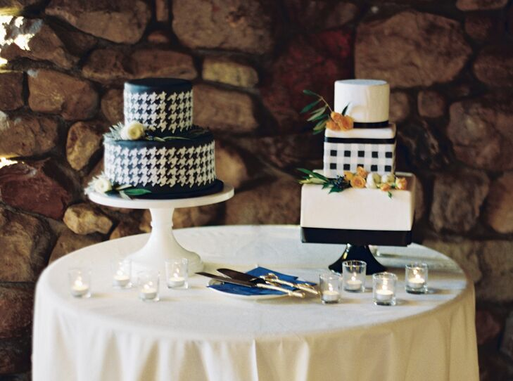 One of the two cakes was a three-tier square navy and a white plaid cake in pumpkin cardamom with cinnamon cream cheese frosting; the other was a round blue and white houndstooth pattern.