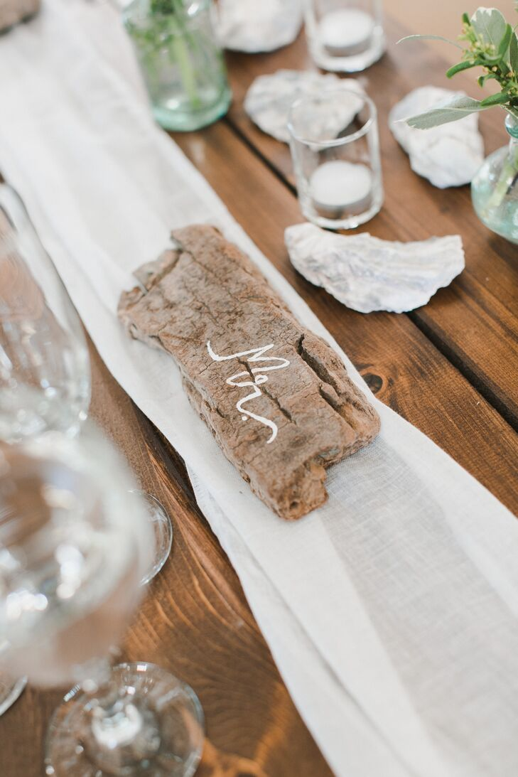 Hand-Lettered Driftwood Place Cards