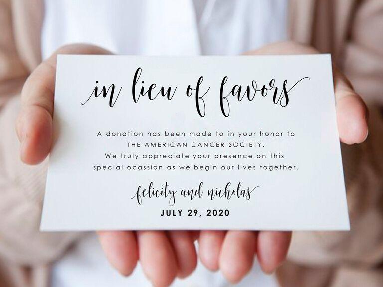 Donation card unique wedding favor