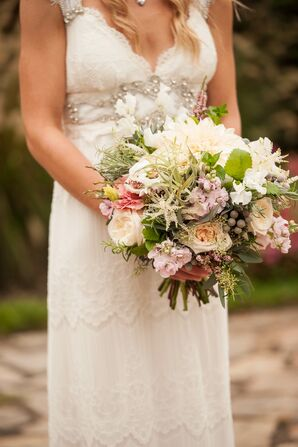 Dahlia, Tillandsia, Silver Brunia Lush Bridal Bouquet