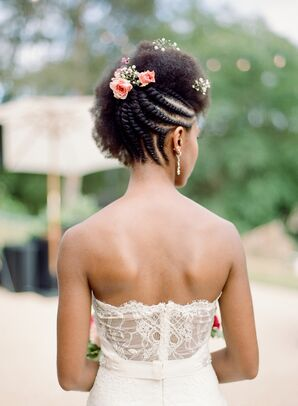 Bride with Braided Up-Do of Pink Roses and Baby's Breath