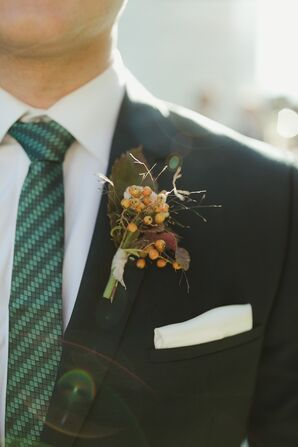 Earth-Tone Boutonniere and White Pocket Square