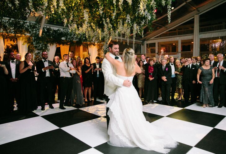 First Dance on Black-and-White Dance Floor