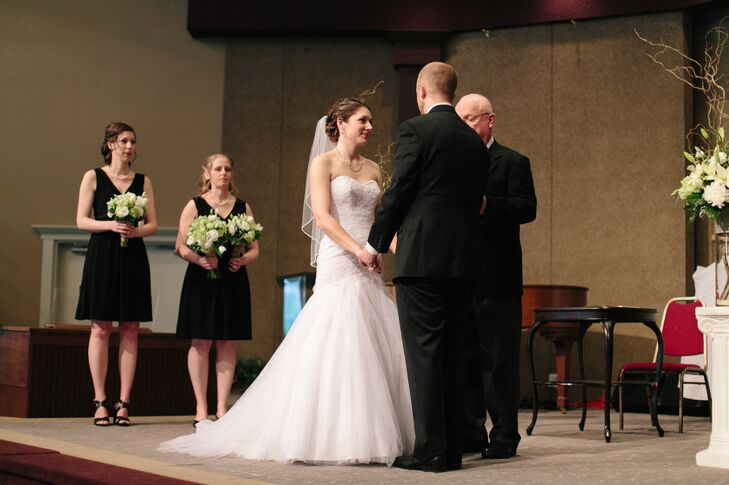 The couple exchanged vows with an indoor ceremony at Jessica's hometown church.