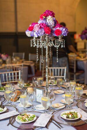 Purple Rose and Hydrangeas Candelabra Centerpieces