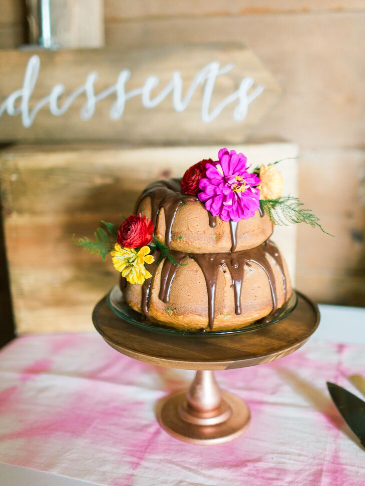 The two-layer Bundt cake was made by Courtney's sister-in-law and bridesmaid Sherrie, keeping it simple by using Pillsbury confetti cake and chocolate drizzle.